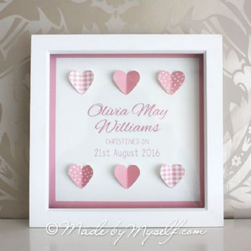 Personalised Christening Gift - Framed Hearts - Girl